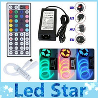 Holiday waterproof led lights - Waterproof IP65 M Leds SMD RGB lights led strips leds M remote controller V A power supply with EU AU UK US SW plug