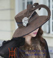 Wholesale Women hat formal hat church hat dress hat millinery chapeau ladies polyester feather elagant newly designed
