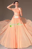 Wholesale 2014 Sexy Bateau Sheer Cap Sleeve Coral Chiffon Mother of the bride Evening Gowns Plus Size dhg A line Lace Prom Dresses