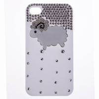 Wholesale Luxury Phone Cover Mobile Phone Shell PC Material Handmade Rhinestone Sheep Pattern Cell Phone Cases For Iphone4 Iphone s B