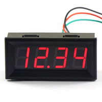 Wholesale 5 Three wires quot Red LED Digital Voltmeter Car Battery Voltage Monitor DC V V Voltage Detector Panel Meter