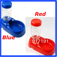 Dogs Feeding & Watering Supplies D1545 Free Shipping Pet Dog Cat Automatic Water Dispenser Food Dish Bowl Feeder Blue Red