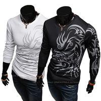 Men Cotton Round New Fashion Men Slim T-shirts Plus Size Round Neck Collar T-shirts Casual Chinese Dragon Style Printing Long Sleeve Polo Black Tshirts