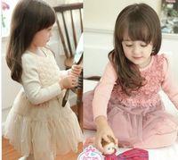 Wholesale 2014 Spring Rose Applique Ruffles Gauze Long Sleeve White Pink Dresses Flowers Cover Plain Party Korean Girl Dress B2578