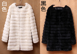 Wholesale trench coat and Plus size faux slim outerwear three quarter sleeve winter with rabbit Fur ball A b