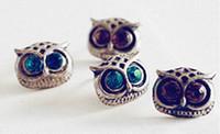 Wholesale 4 colors vintage owl earrings earrings High Quality Crystal shop