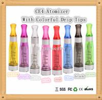 Electronic Cigarette Atomizer purple EGO CE4 Atomizer Colorful 1.6ml 2.4OHM Multi Cotton Thread Vaporizer Round Drip Tips E cigarette CE4 Clearomizer E Cigs Inside Price DHL