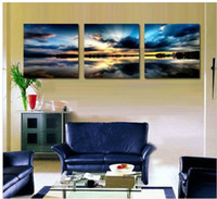 Oil Painting Unframed  Free shipping 3 Panels Living Room Decorative Canvas Painting Modern Huge Picture Paint Print Art beach sunset painting