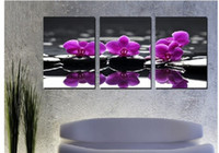 Oil Painting Unframed  3 Piece Free Shipping Hot Sell Modern Wall Painting Purple orchid Home Decoration Flowers Art Picture Paint on Canvas Prints