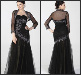 black tulle floor length formal long mother of the bride dresses with jacket sweetheart 3 4 long sleeve applique beads ruffle sequins