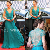 Cheap 2014 Sexy V Neck Cap Sleeves Formal Evening Dresses Sheer Lace Back Pleated Chiffon Kate middleton Jenny Packham Celebrity Dresses EWL218