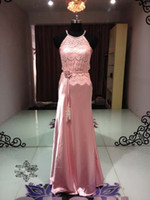 Wholesale Graceful New Pink Halter Sheath Floor Length Sweep Pageant Dresses Lace Ribbon Woman Prom Dresses Satin Evening Dresses st white