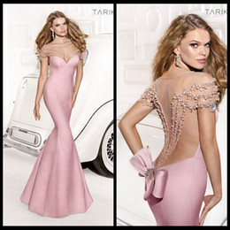 Wholesale 2014 Tarik Ediz Pageant Dresses Sweetheart Mermaid Pink Satin Floor Length Crystal Bow Backless Prom Evening Gowns