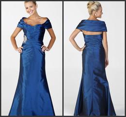 2019 new design blue taffeta formal long sheath witn The shawl mother of the bride dresses portrait A-line floor length sleeveless sash