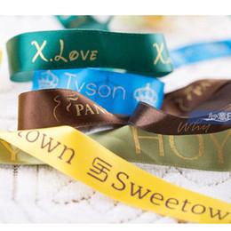 Wholesale Personalised Ribbon Custom Logo Printed Branding Ribbon Valentine Easter Birthday Wedding Decoration DIY silk Ribbon