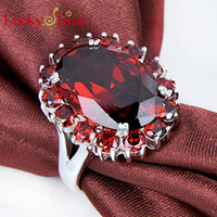 925 silver garnet stone women's wedding ring R0002