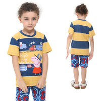 Round Neck Boy Summer C4451# Nova cute baby clothes 18m-6y boys t-shirts cartoon clothing George Peppa Pig cotton short sleeve pringting shirt t shirt for summer