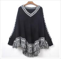 Wholesale 2014 spring new women tassels fringed shawl cloak big yards loose V neck knit sweater free size