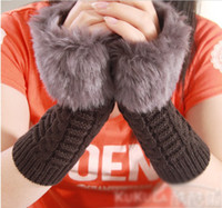 Wholesale winter gloves for women half finger gloves knitted striped Gloves amp Mittens colors Fingerless gloves