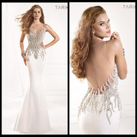 Wholesale 2014 Tarik Ediz Prom Dresses Sexy Sweetheart Backless Mermaid Ivory Satin Floor Length Hand Crystal Beads Evening Gowns