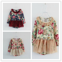 Cheap 2014 Spring Posies Printed Ruffles Gauze Patched Peplum Long Sleeve Dresses Sweety Princess Dress For 2-7 Years B2584
