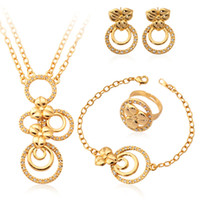 Bracelet,Earrings & Necklace Celtic Women's Vintage Real 18K Gold Plated Statement Costume Jewelry Sets Rhinestone High Quality Jewelry Set With Gift Box For Women MGC S757