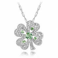 Wholesale Romance Four Leaf Clover PC Swarovski Elements Crystallized Austrian Crystal Rhinestone Pendant Necklace Plated KGP True Platinum1