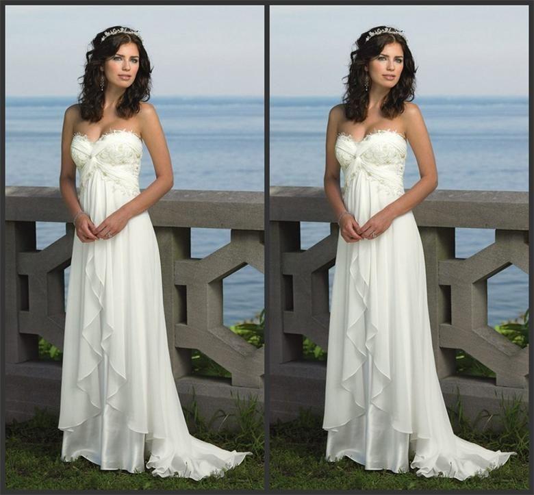 Dn best selling beach wedding dresses white floor length for Sell your wedding dress fast