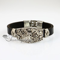 Wholesale skull fleur de lis snap wrap bracelets genuine leather braided leather bracelets jewelry