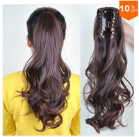 Synthetic hair Medium Brown Curly Easy Clip in Ponytail Hair Piece Pony Wig Hair Extension Synthetic Black Brown Long Curly Wavy hair ponytails hairpieces