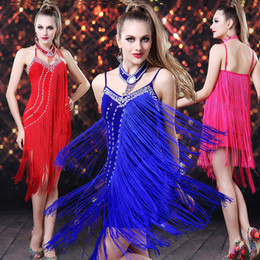 Wholesale Top Quality New Fashion Sexy SV neck tassel rose black elegant party and Latin Dance Dress