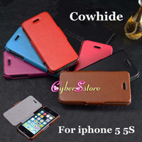 Wholesale For iphone S Top Grade Litchi Genuine Cowhide Heat press Wallet Leather Case Cover for iphone S G
