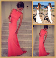 Wholesale 2014 Coral Prom Dresses Vintage Bateau High Neck Backless Evening Dresses Long Coral Dress Fitted Beach Maxi Dresses Cheap Prom Dresses