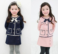 Wholesale 2014 New Fashion School Style Bow Long Sleeve Tops Tees Skirt Leggings Outfits Wear Pink Blue Cotton Spring Clothes Set B2586