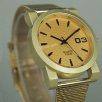 Wholesale 800pcs unisex fashion quartz watch women men gift top brand gold luxury watches wire mesh belt strap wristwatches