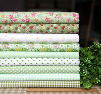 """Quilt Fabric   Fresh Green Series 9pcs Floral Cotton Quilt Fabric Fat Quarters for DIY Patchwork - 45x45cm 17.7""""x17.7"""" Free Shipping"""