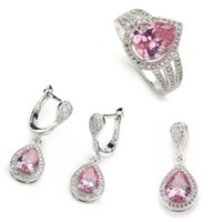 Wholesale Micro inlays jewelry Fashion Pink crystal silver Beautiful heart set ring earring pendant set sz6
