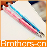 Wholesale Luxury Diamond Crystal in Touch Screen Rhinestones Capacitive Stylus Ball Pen For Mobile Phone PC Tablet iPad