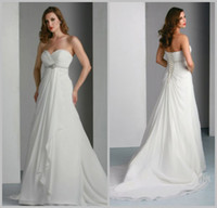 Wholesale Sweetheart Pleated Crystal Sash Empire Waist Lace up A line Court Train Chiffon Pregnant Bridal Dress Beach Wedding Dress DL1309604