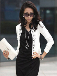 Wholesale Polyester Solid Color Open Front Crewneck Grommets Long Sleeves Blazer For Women men slim fit suits r47 u14 vr6