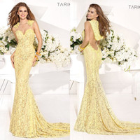 Cheap 2014 New Pageant Celebrity Dress Tarik Ediz Yellow Mermaid Prom Gowns Lace Sheer Jewel Court Train Vintage Evening Dresses with Cap Formal
