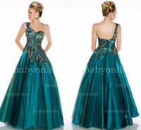 Cheap Gorgeous hunter green formal evening gowns peacock applique embroidery sequins one shoulder backless floor length A line prom dresses 42834H