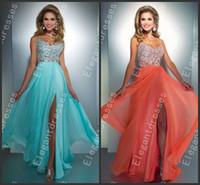 Cheap Beauty 2014 Elegant Floor Length Aqua Coral Chiffon Crystal Prom Dresses Party Cheap Dresses