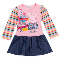 Cheap Wholesale - H4235# Nova children clothes 18m-6y baby girls denim dresses Peppa Pig costume cotton long sleeve pink dress 50pcs L