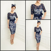 Wholesale 2014 Custom Made Bow Half Sleeves Jacket Sheath Knee Length Dark Navy Lace Mother Of The Bride Dresses Suits