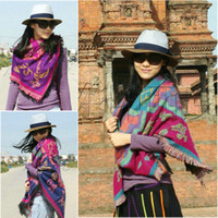 Wholesale Autumn and winter wool cashmere thickening print yak wool large cape thermal cotton scarf squareinto