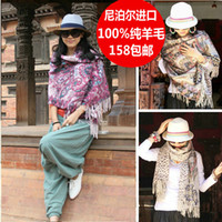 Wholesale Autumn and winter print thick pure wool cashmere large cape thermal scarf gift