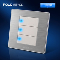 Wholesale 3 Gang Way high quality wall switch panel LED panel Light switch Tap switch V