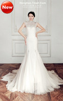 Sheath/Column Model Pictures Sleeveless 2014 High Sheer Halter Neckline Rhinestone high neck collar Slim lace fishtail wedding dress trailing High quality real material 3.5kg