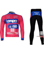 Wholesale Winter clothes Lampre cycling tights Winter long sleeve cycling jerseys pants bike bicycle thermal fleeced wear set Plush fabric